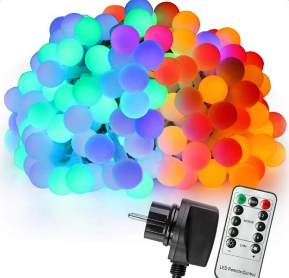 39 ft 100 LED Colorful Globe Fairy Light with 31V Plug Multicolor with Wireless Remote Control and Timer 6 Modes Dimmable $4.39