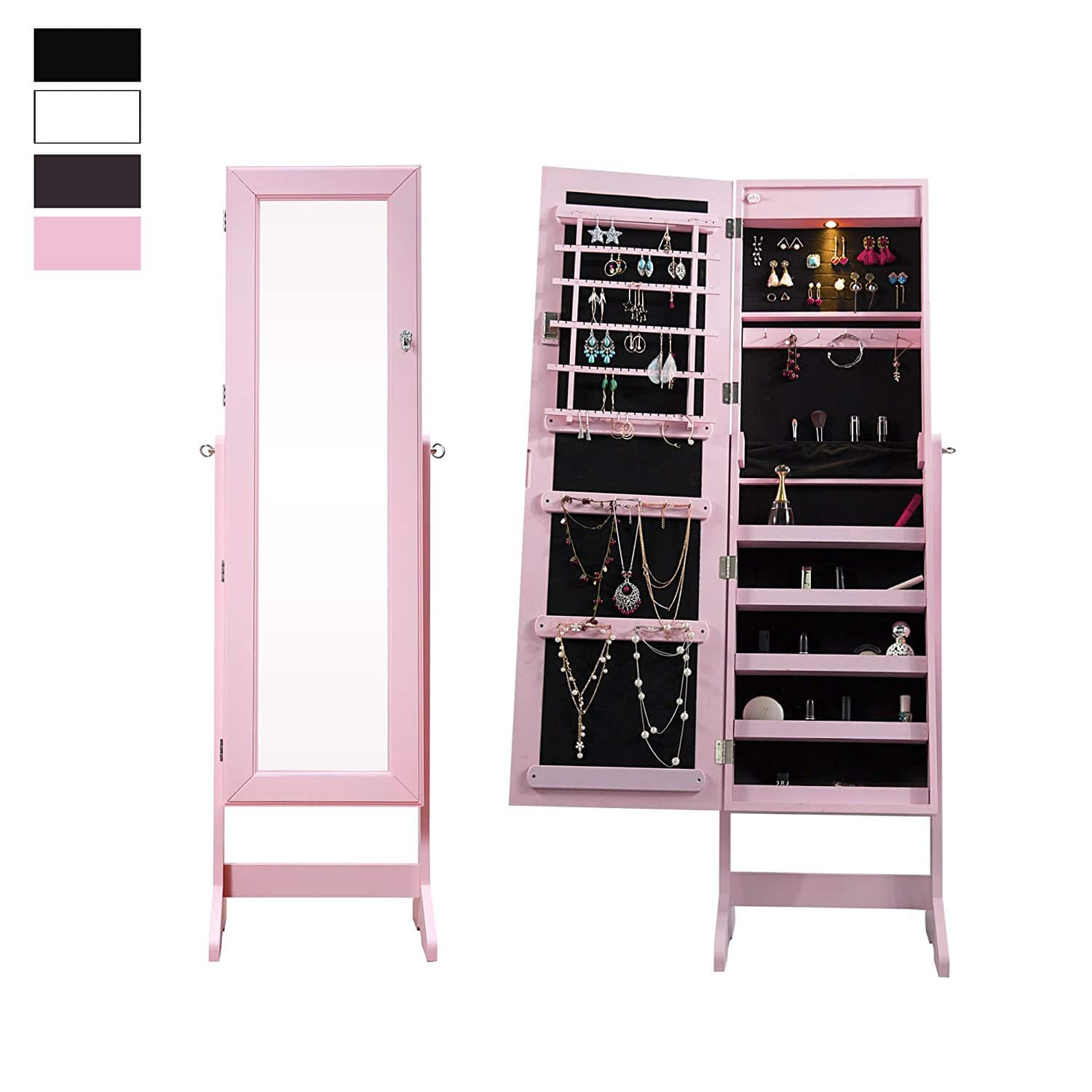 Cloud Mountain Mirrored Jewelry Armoire Organizer with LED Light @Amazon 32% OFF $64.99+ Free Shipping