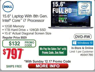 """Dell Inspiron 15 i5570-7616SLV 15.6""""  8th Gen. Intel Core i7-8550U , 12GB RAM,128GB SSD+ 1TB Hard Drive + $797 + NO sales tax + FREE Shipping"""