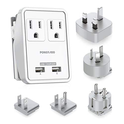 POWERADD Travel Adapter Kit - Dual USB Ports + 2 US Outlets + 5 international adapters, UL listed, free shipping with Prime $12.99