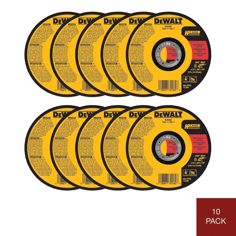 10 pack Dewalt 4-1/2 in. x 0.045 in. x 7/8 in. Metal and Stainless Cutting Wheel, $10.97, free shipping, Home Depot