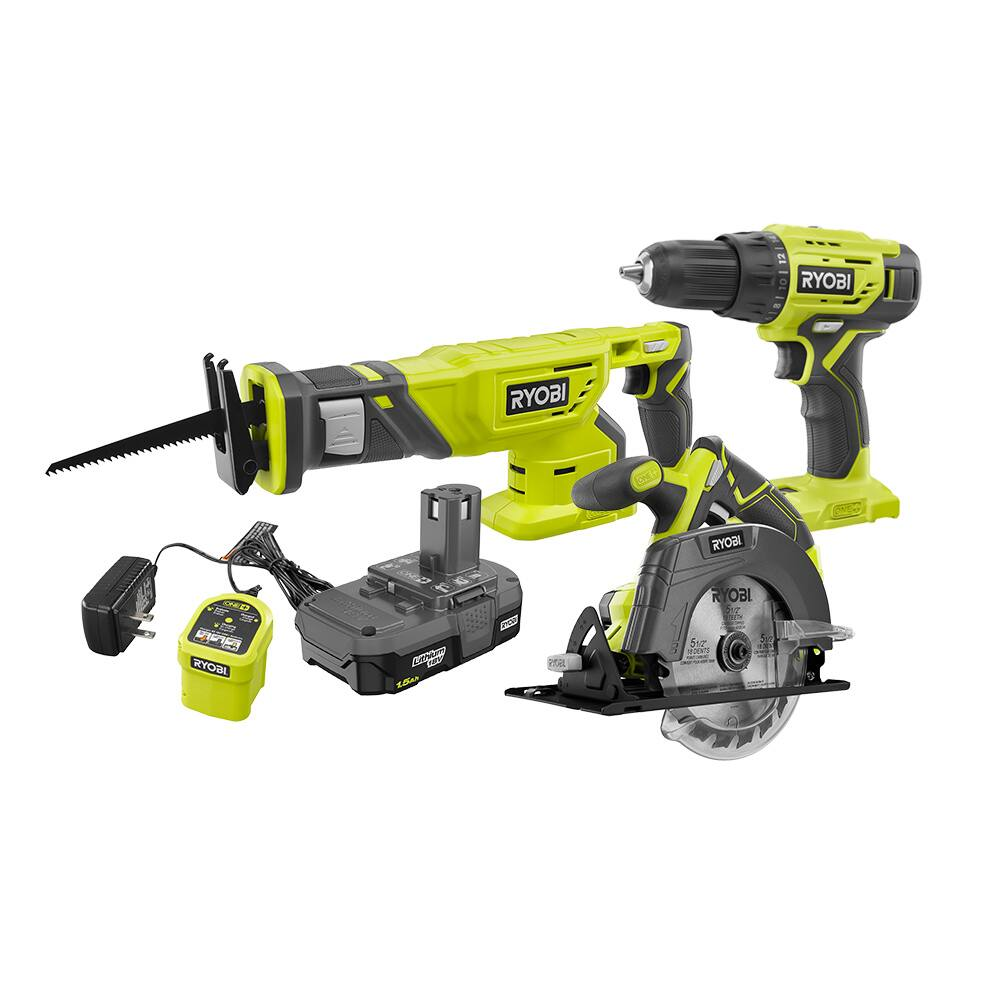RYOBI 18 Volt ONE+ 3 Tool Combo Kit, RECONDITIONED, $99.99, Direct Tools Outlet