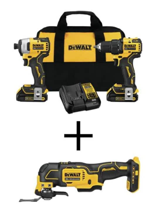 DEWALT ATOMIC 20-Volt MAX Li-Ion Brushless Cordless Drill/Impact Combo Kit w/ Oscillating Tool or compact recip saw (2 batteries and charger included), $199, FS, Home Deopot