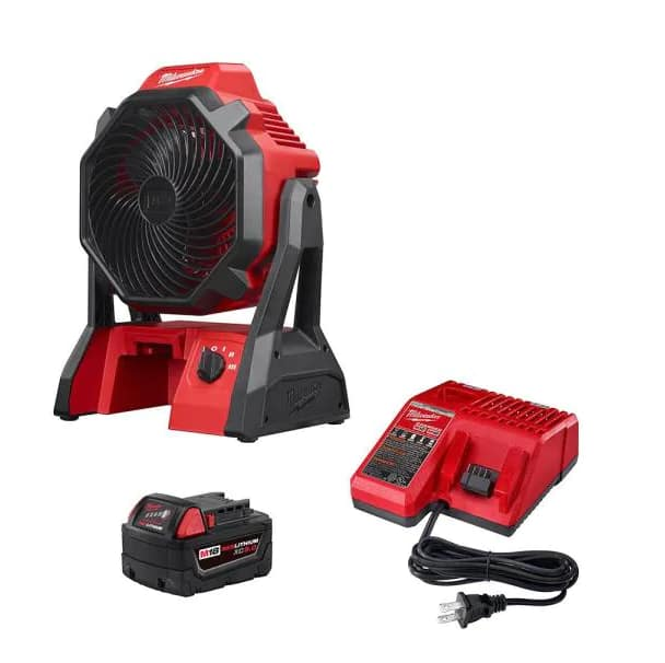 Milwaukee M18 18-Volt Lithium-Ion Cordless Jobsite Fan with 5.0 Ah and Charger, $129, free shipping, Home Depot