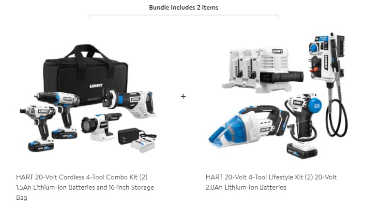 HART 20-Volt 7-Tool Bundle with Two 2.0Ah Batteries, Two 1.5Ah Batteries, Storage Bag, Fast Charger & 4-Port Fast Charger, $199, Walmart