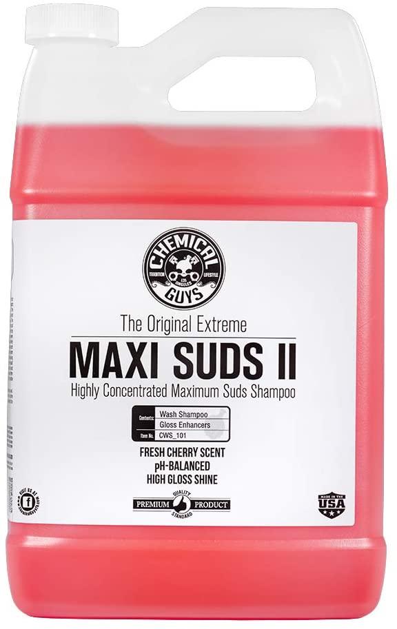 Prime members : 1 gallon Chemical Guys CWS_101 Maxi-Suds II Foaming Car Wash Soap, $14.69