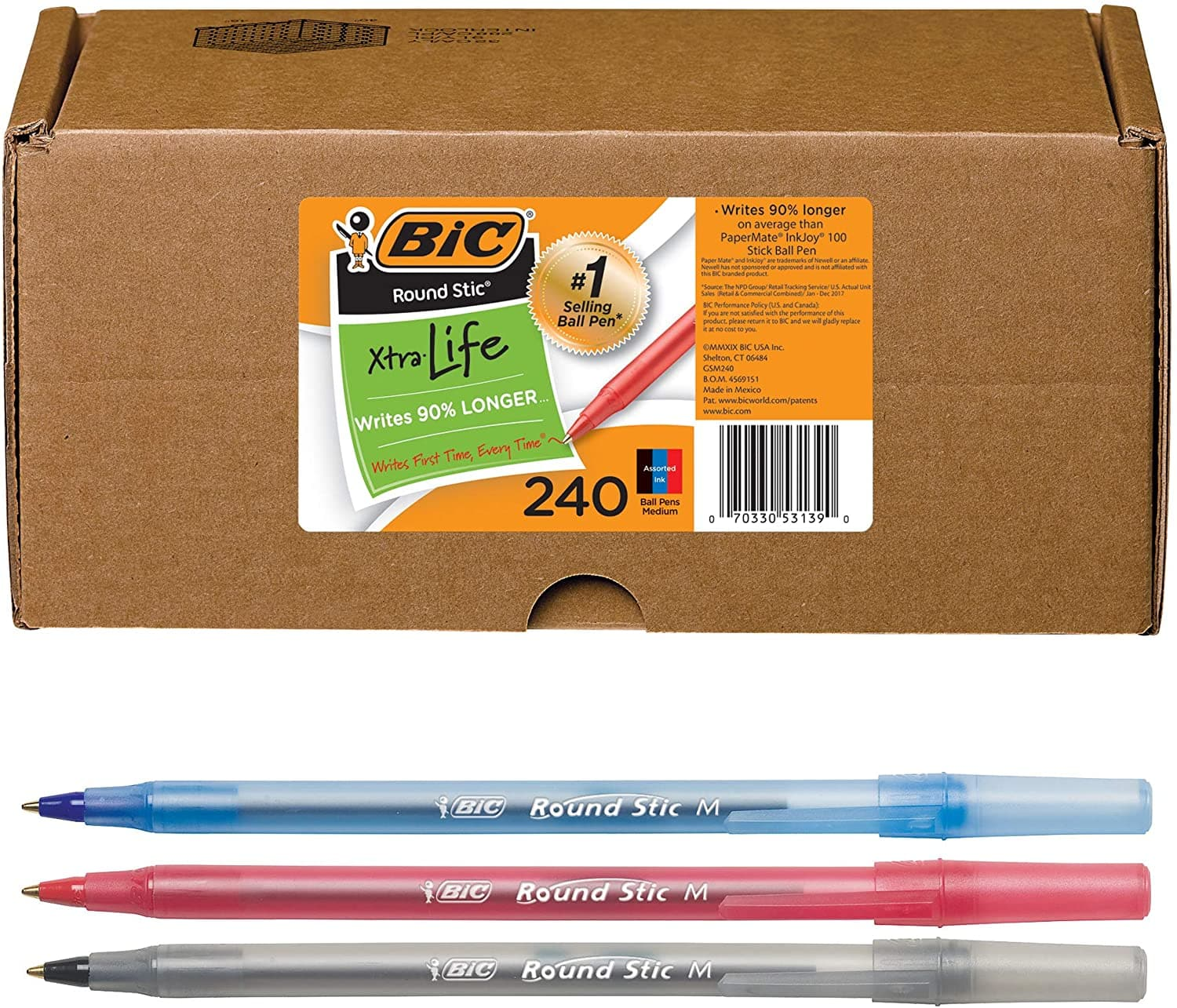 Woot, 240 ct BIC Round Stic Xtra Life Ballpoint Pen (Black, blue, red), $11.25, free shipping for Prime members