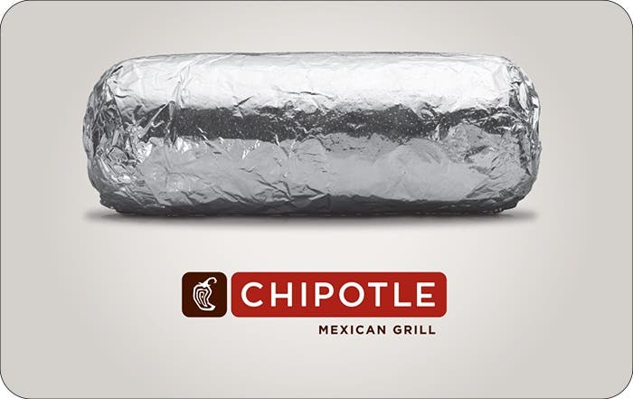 Paypal, $50 Chipotle Gift Card for $45 (e-mail delivery)