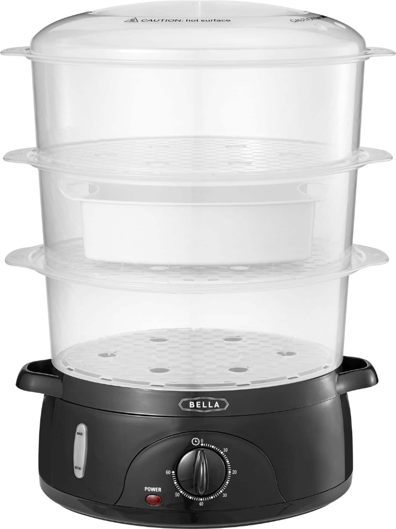 Bella - 9.5-Qt. 3-Tier Food Steamer - Black/Clear, $14.99, Best Buy