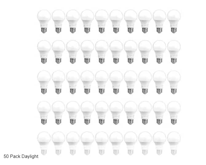 Woot, 50 pack AmazonCommercial 60 Watt Equivalent, 10,000 Hours, Non-Dimmable, E26 Base, A19 LED Light Bulb, Daylight $25.99
