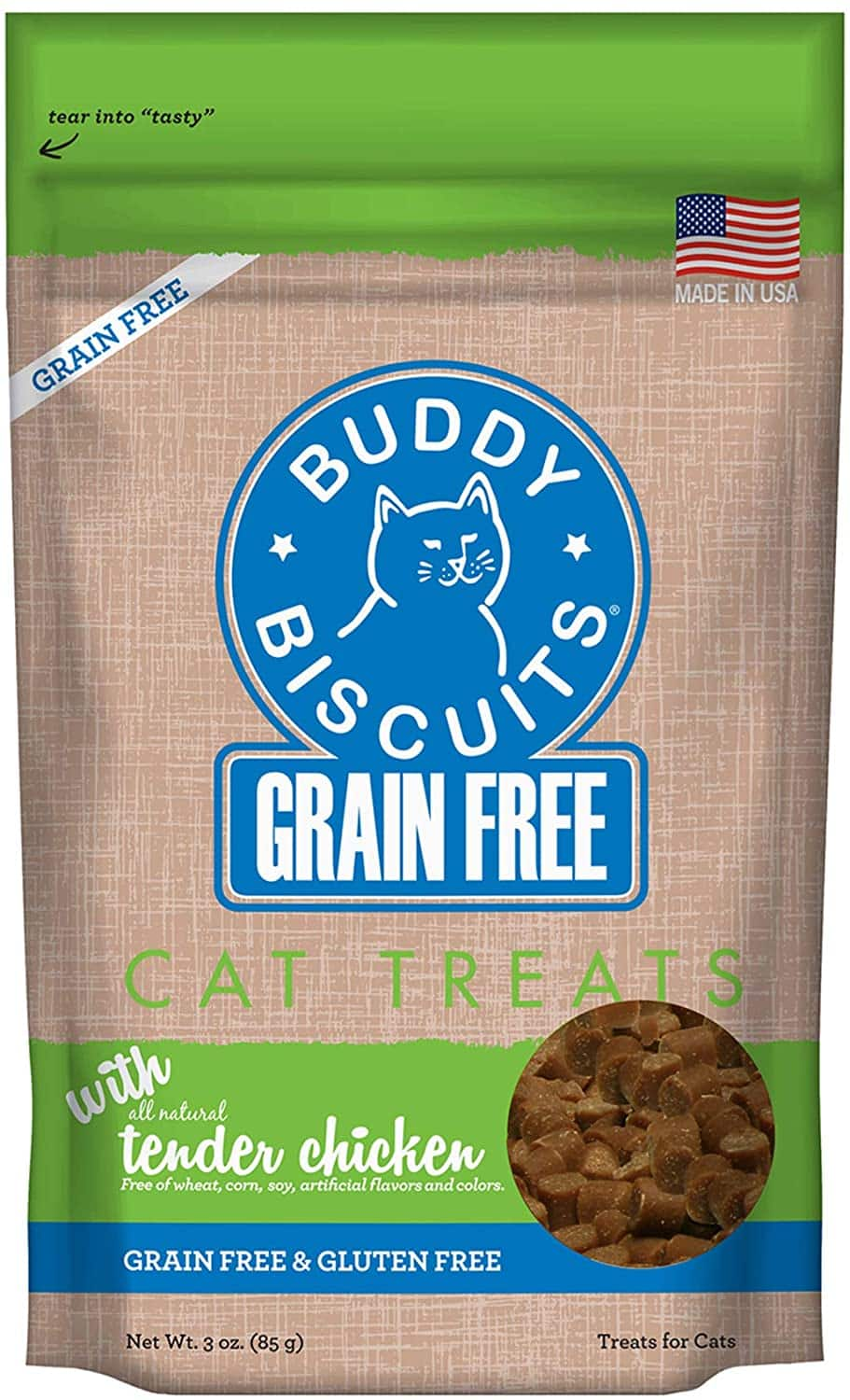 3 pack (3 oz), Buddy Biscuits Grain Free Cat Treats, Tender Chicken, $3.94 with S&S, Amazon + more
