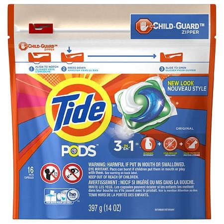37 oz Tide detergents or 12-16 count pods, $2.99, free pickup, Walgreens