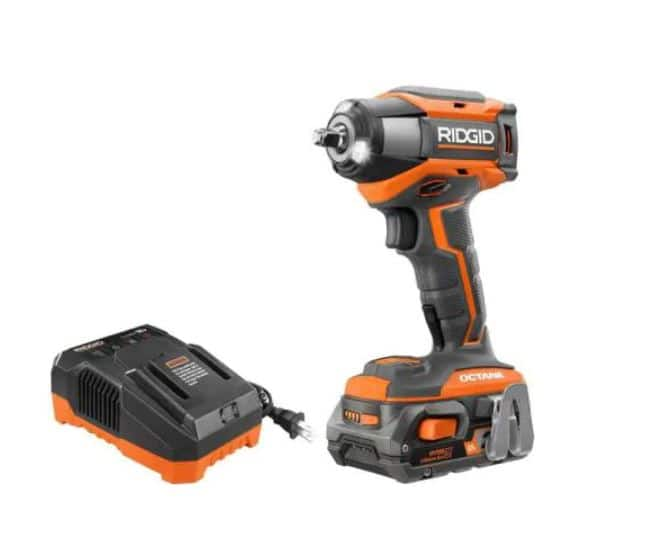 RIDGID 18-Volt OCTANE Cordless Brushless 3/8 in. 6-Mode Impact Wrench Kit with 2.0 Ah Battery and 18-Volt Charger, $119, free shipping, Home Depot