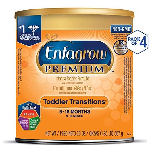 Enfagrow PREMIUM Toddler Transitions Baby Formula Milk Powder, 20 Ounce (Pack of 4), Omega 3 DHA, Iron, $33.50 after coupon with Subscribe and Save at Amazon