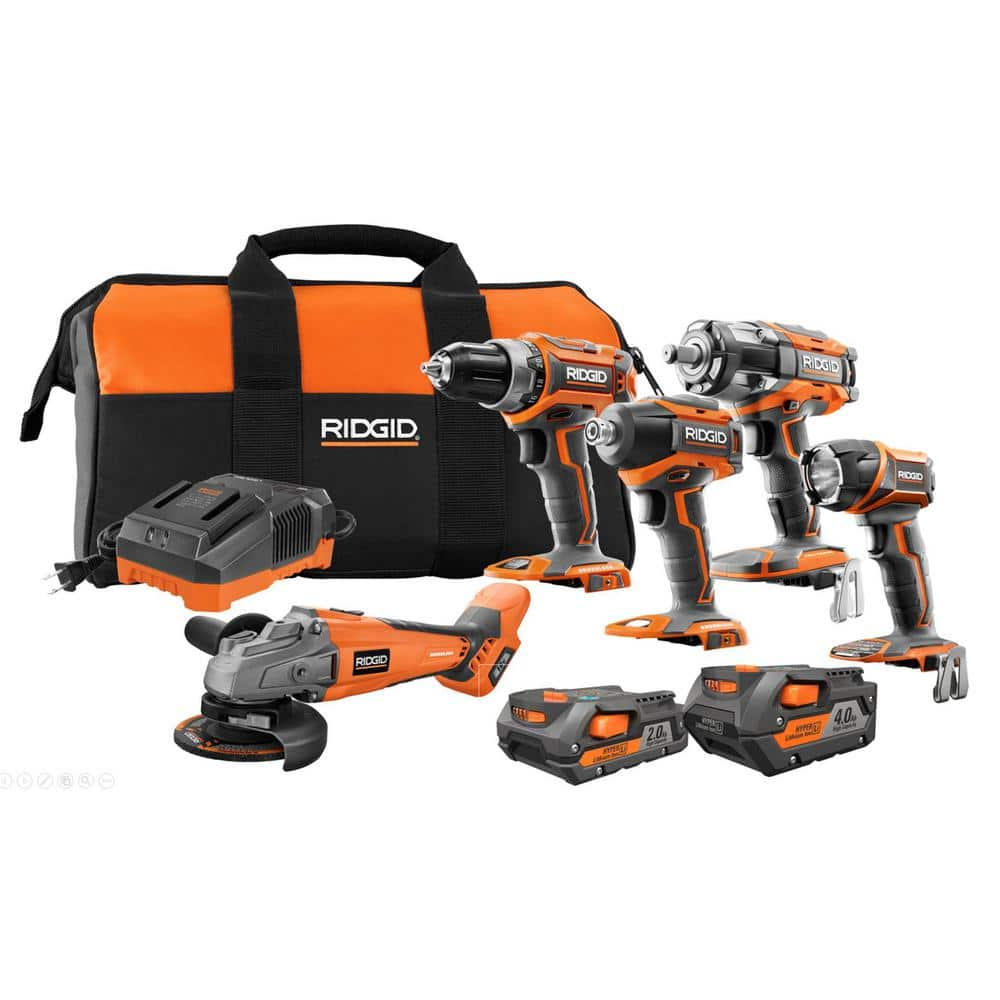 RIDGID 18-Volt Lithium-Ion Brushless Cordless 5-Tool Combo Kit with (1) 4.0 Ah Battery, (1) 2.0 Ah Battery, Charger, and Bag, $289, free ship at Home Depot