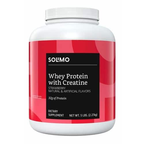 Amazon Brand - Solimo Whey Protein Powder with Creatine, Strawberry, 5 Pounds, $22.79, Cookies and Cream $26.35 with Subscribe and Save