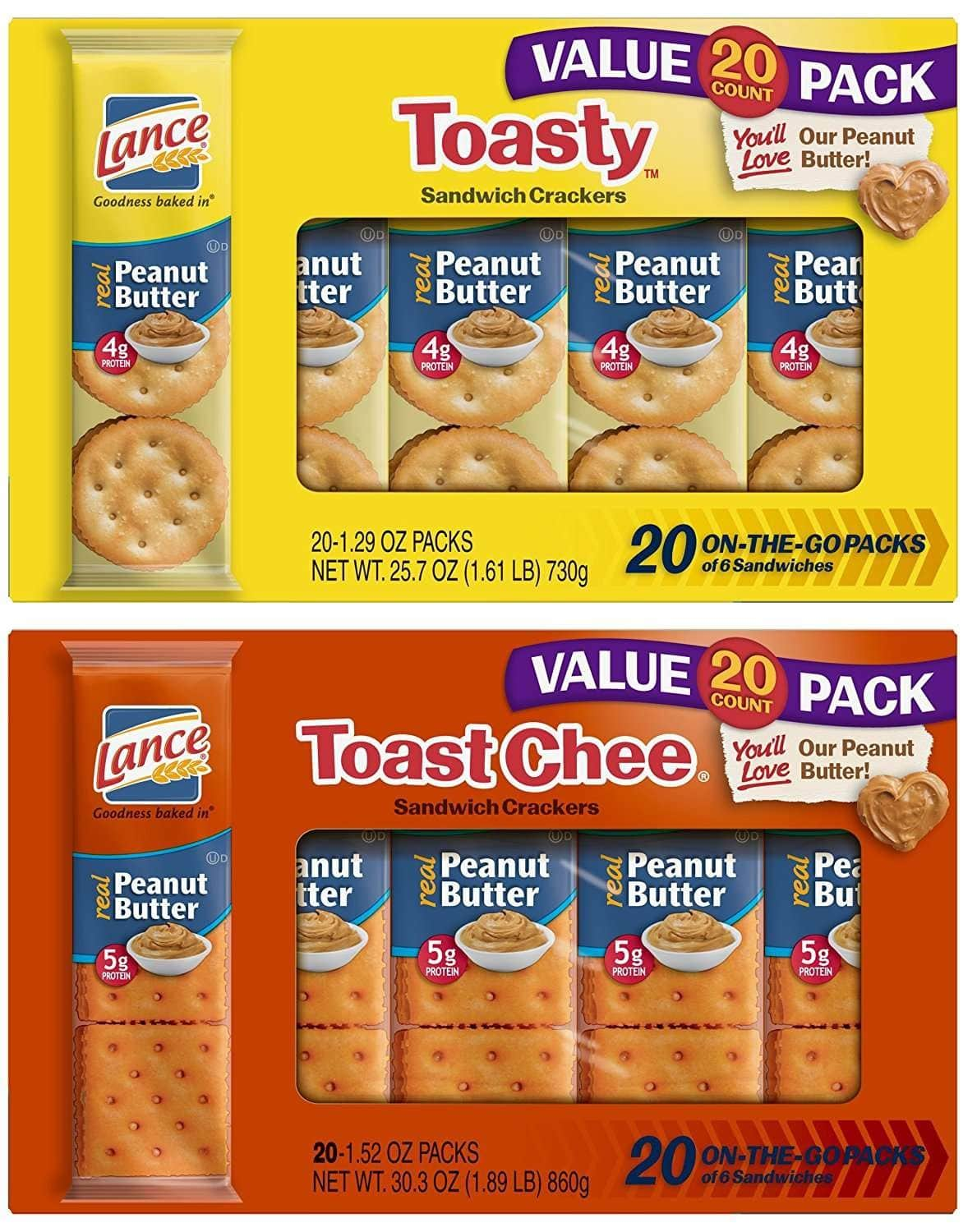 Lance Toasty and Toastchee Assorted Sandwich Crackers, 40 Count, $8.05 after coupon with Subscribe and Save