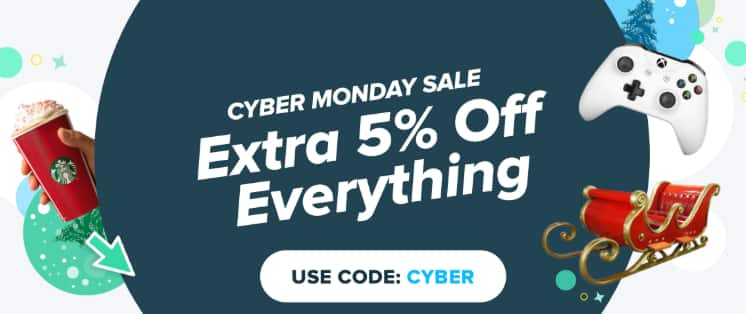 Raise.com Cyber Monday, extra 5% with code CYBER