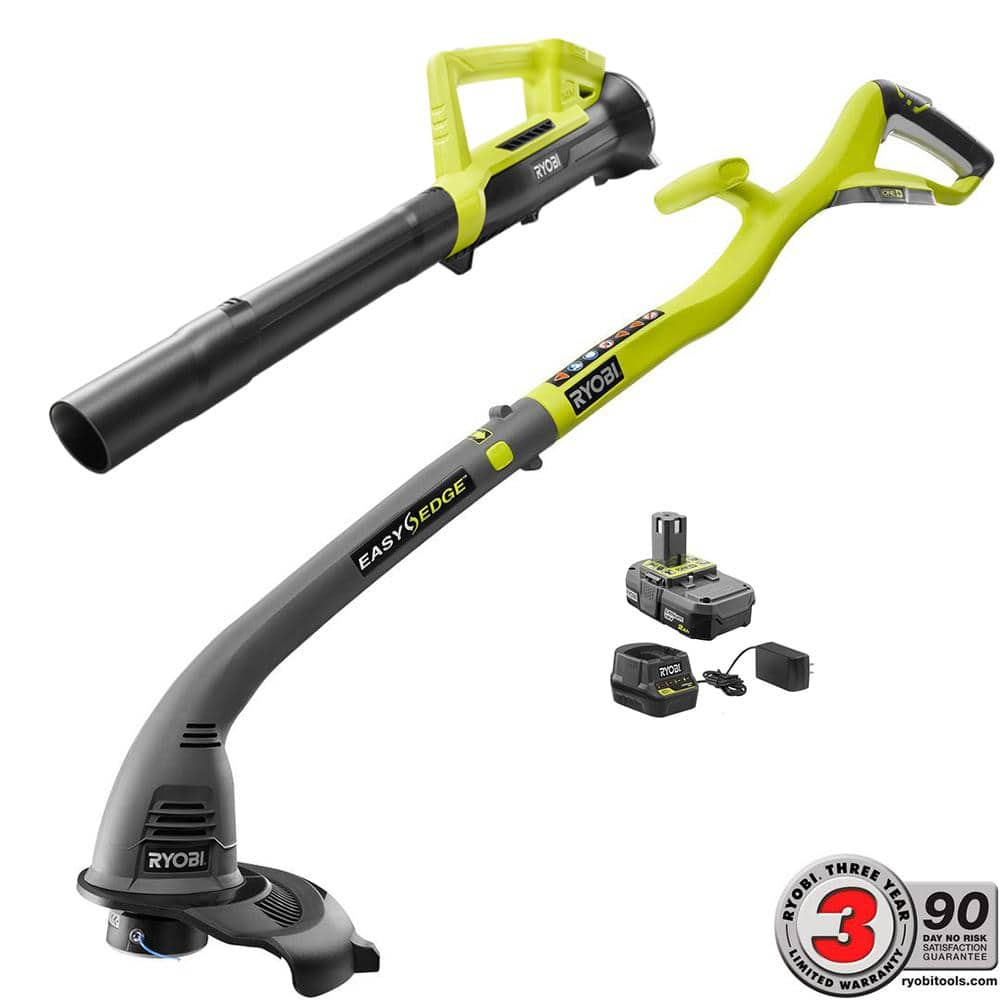 Ends today, Ryobi ONE+ 18-Volt Lithium-Ion String Trimmer/Edger and Blower Combo Kit 2.0 Ah Battery and Charger Included, $69.88, Home Depot