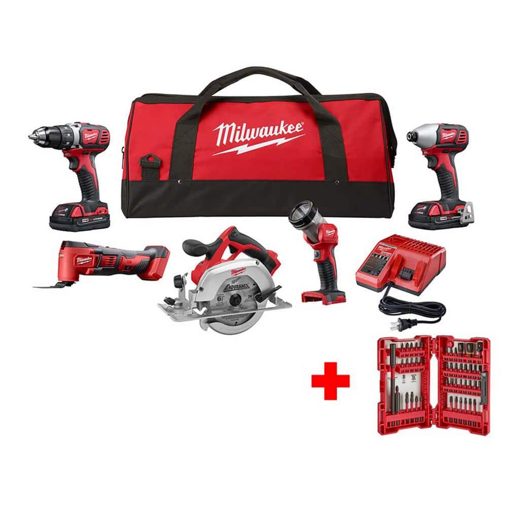 Milwaukee M18 18-Volt Lithium-Ion Cordless Combo Tool Kit (5-Tool) with SHOCKWAVE Impact Bit Set (45-Piece), $313.97, Home Depot