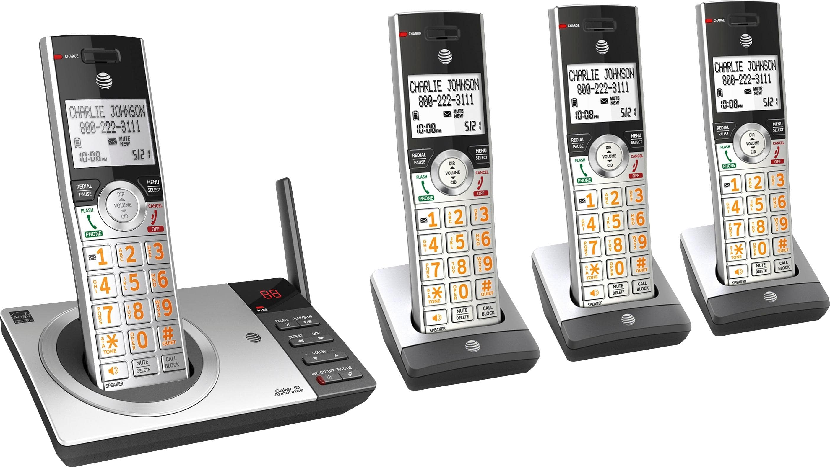 AT&T DECT 6.0 Expandable Cordless Phone with Answering System, Silver/Black with 4 Handsets, $62.88, Amazon