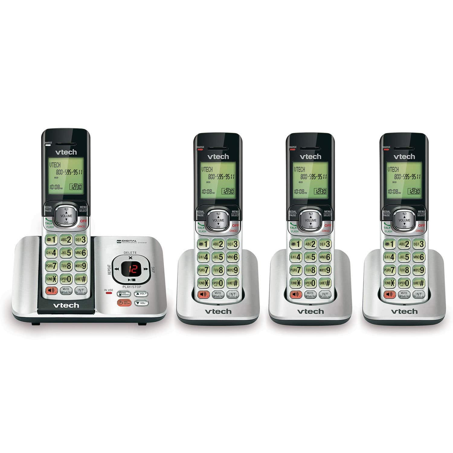 VTech CS6529-4 DECT 6.0 Phone Answering System with Caller ID/Call Waiting, 4 Cordless Handsets, Silver/Black, $49.78, Amazon