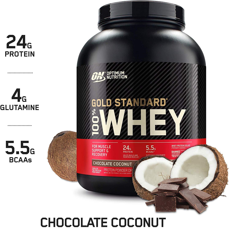 Optimum Nutrition Gold Standard 100% Whey Protein Powder, Chocolate Coconut or White Chocolate, 5 Pound, $35.58 AC w/ S&S, Amazon