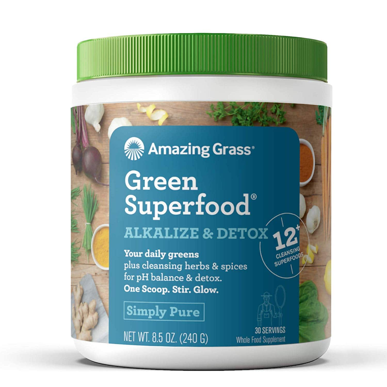 Amazing Grass Green Superfood Alkalize & Detox: Organic Plant Based Powder with Active Probiotics, Greens and Wheat Grass, 30 Servings, $10.64 w/ S&S, Amazon