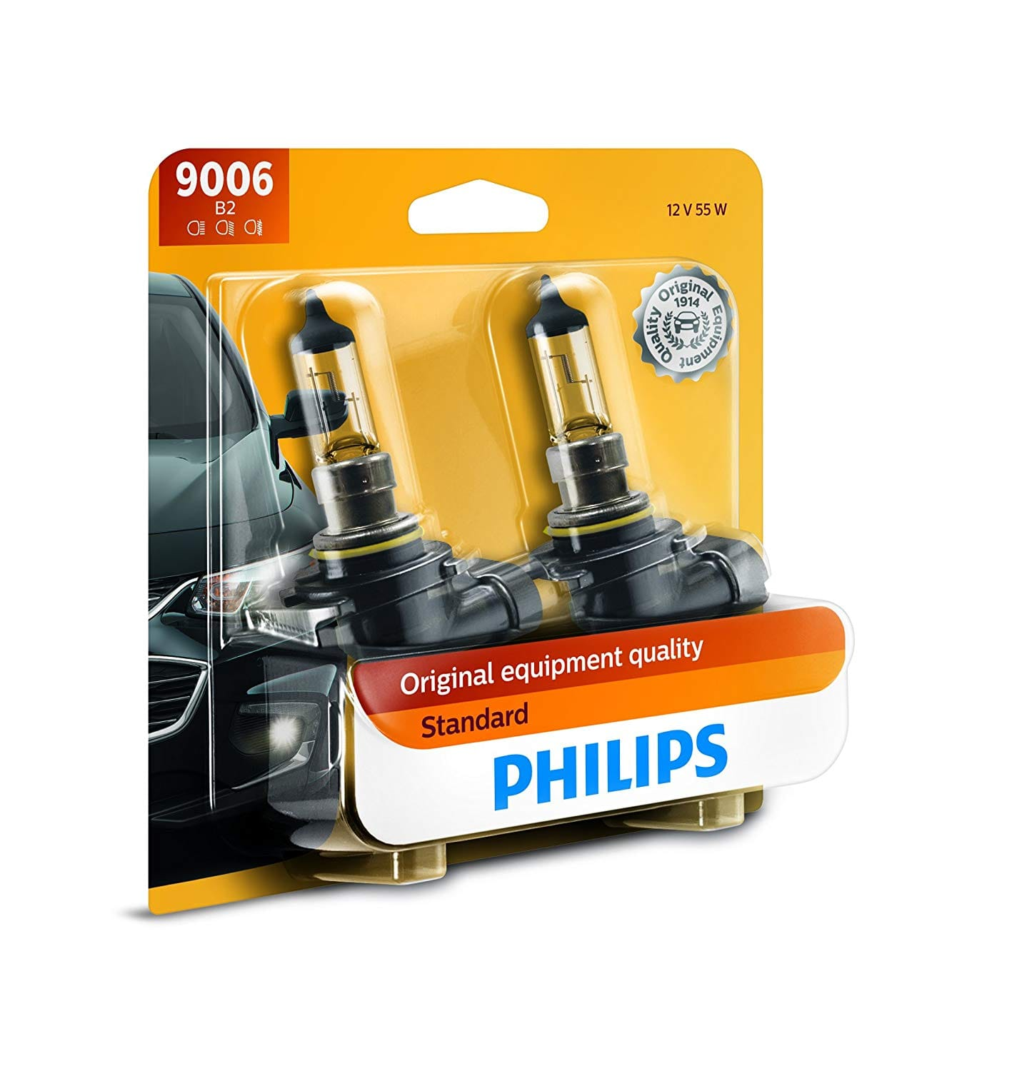 2 pack Philips 9006 Standard Halogen Replacement Headlight Bulb, $8.05, Amazon