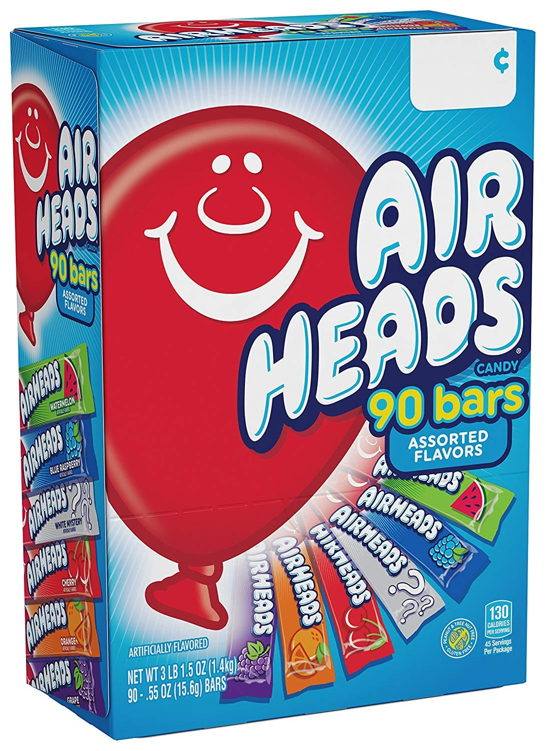 90 count Airheads Bars, Chewy Fruit Taffy Candy, Variety Pack, $7.27 w/ S&S, Amazon