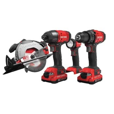 CRAFTSMAN V20 4-Tool 20-Volt Max Power Tool Combo Kit (Charger Included and 2-Batteries Included), $149, Free shipping, Lowe's