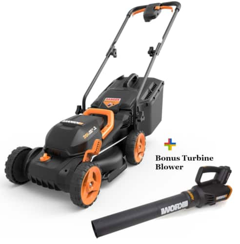 WORX 20V Powershare lawn mower + free turbine blower, 2 batteries, charger, $207.99 after coupon,  NEW, ebay