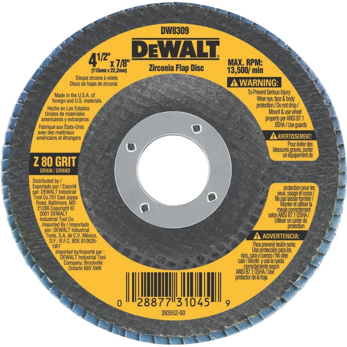 DEWALT Flap Disc, Zirconia, 4-1/2-Inch x 7/8-Inch, 80-Grit (DW8309), $3.49, Amazon