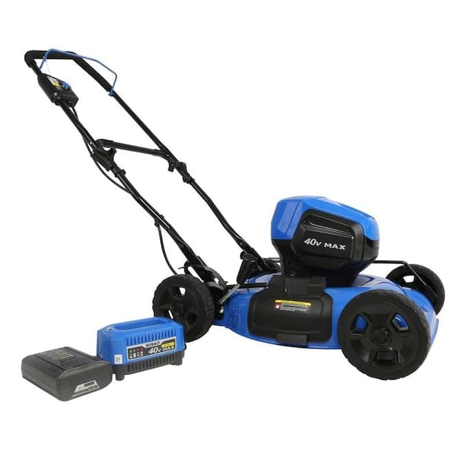 Kobalt 40-volt Max Brushless Lithium Ion Push 19-in Cordless Electric Lawn Mower with 4.0AH battery, $199, Free store pickup, Lowe's