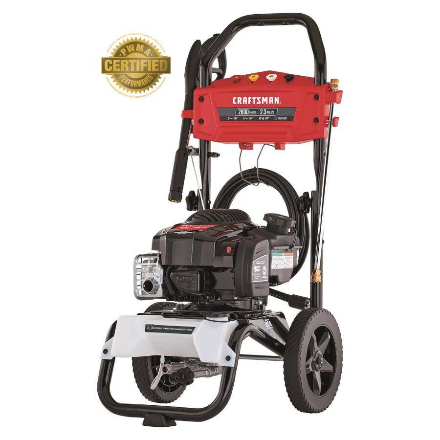 CRAFTSMAN 2800-PSI 2.3-GPM Cold Water Gas Pressure Washer with Briggs & Stratton Engine CARB, $249, Lowe's