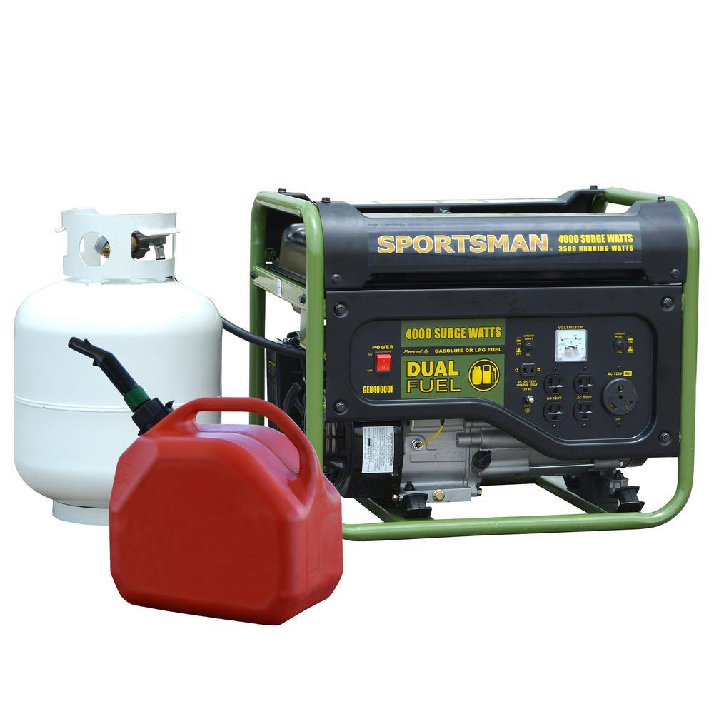 Sportsman 4,000/3,500-Watt Dual Fuel Powered Portable Generator, Runs on LPG or Regular Gasoline, $279, FS, Home Depot $279