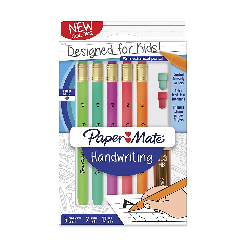 5 count Paper Mate Handwriting Triangular Mechanical Pencil Set with Lead & Eraser Refills, 1.3mm, Fun Barrel Colors, $2.97, Amazon