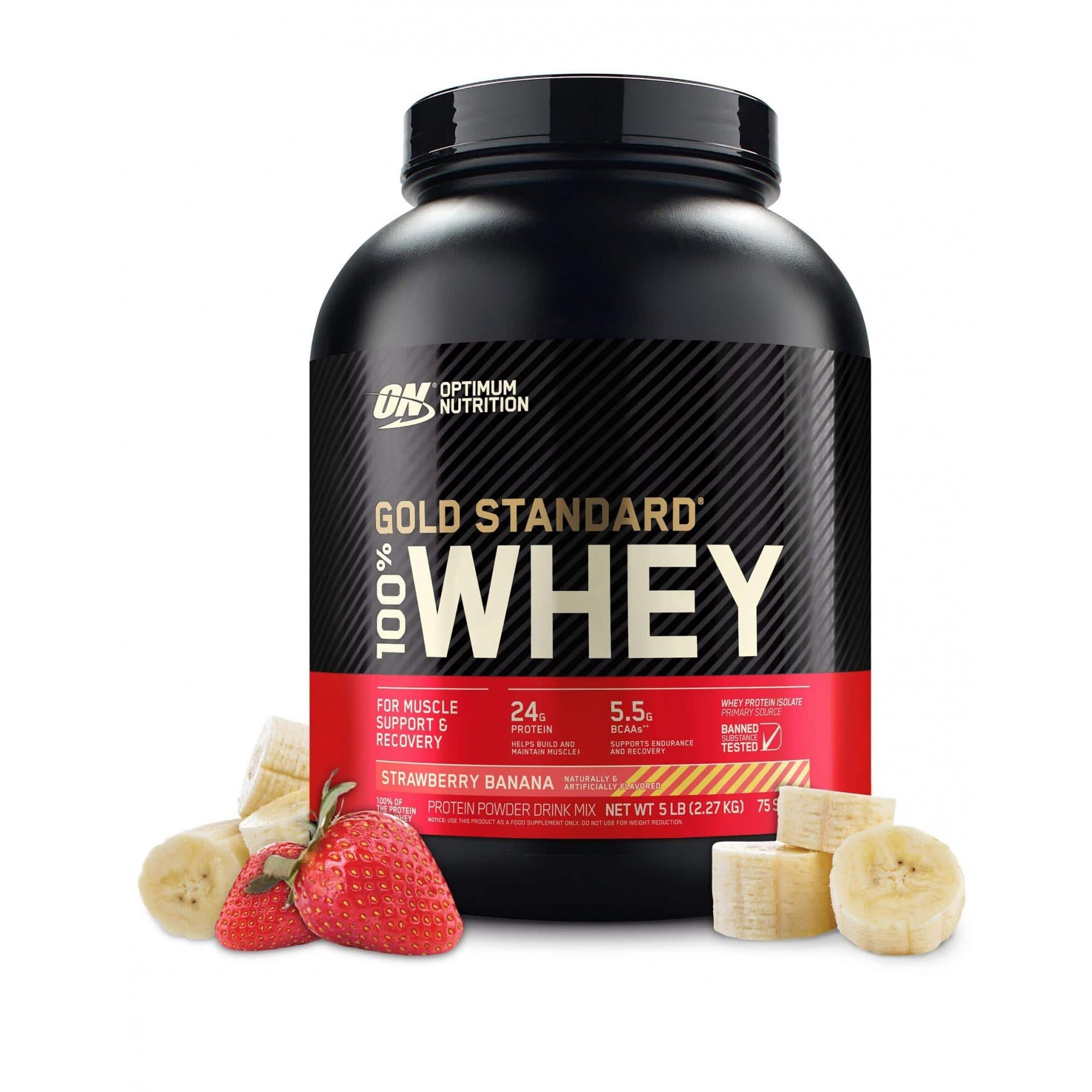 5 lb Optimum Nutrition Gold Standard 100% Whey Protein Powder, Strawberry Banana, $38.41, free shipping, Walmart