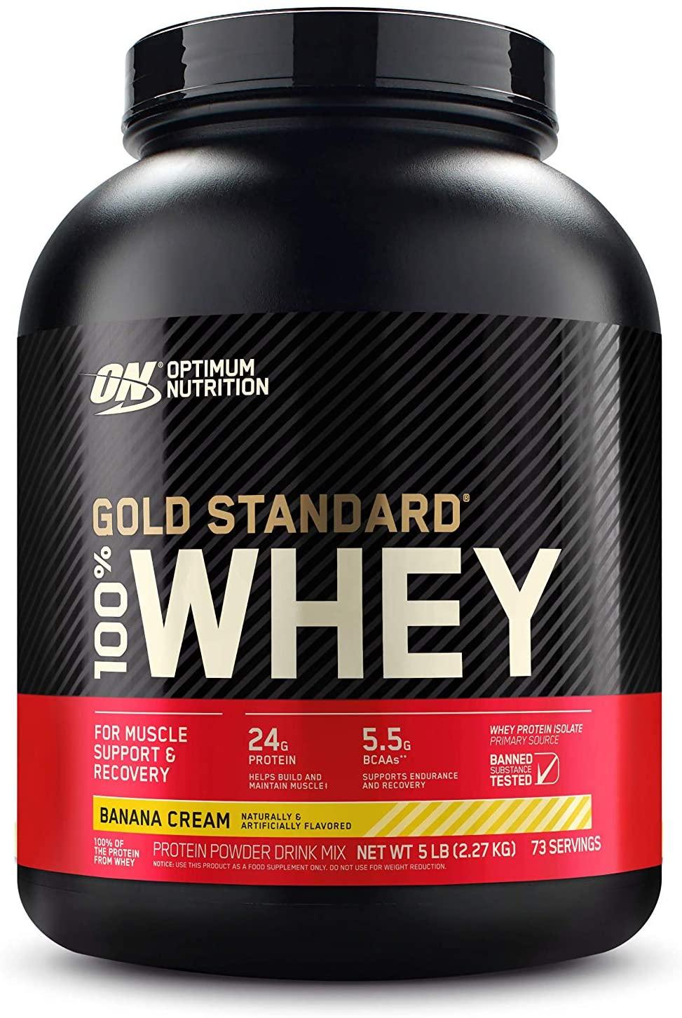 5 lb Optimum Nutrition Gold Standard 100% Whey Protein Powder, Banana Cream, $38.36 w/ S&S, Amazon