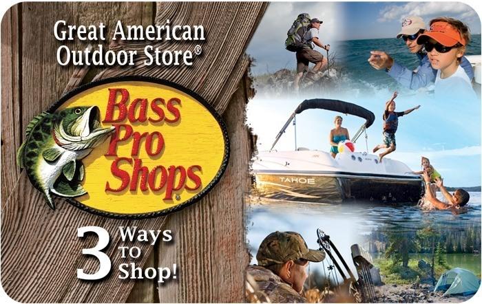 $75 Bass Pro Shops e-gift card, $65, $100 Cabela's e-gift card, $85, Kroger Gift Cards