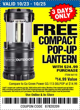 Harbor Freight - Choice of one free item with $24.99 purchase (lantern, 13 pc drill bit set, 12 in tool bag)