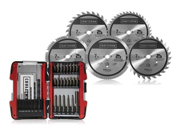 """Woot - 30 piece Craftsman drill and drive kit with 5 pack combo 7 1/4"""" circular saw blades, $24.99, free shipping for Prime members"""