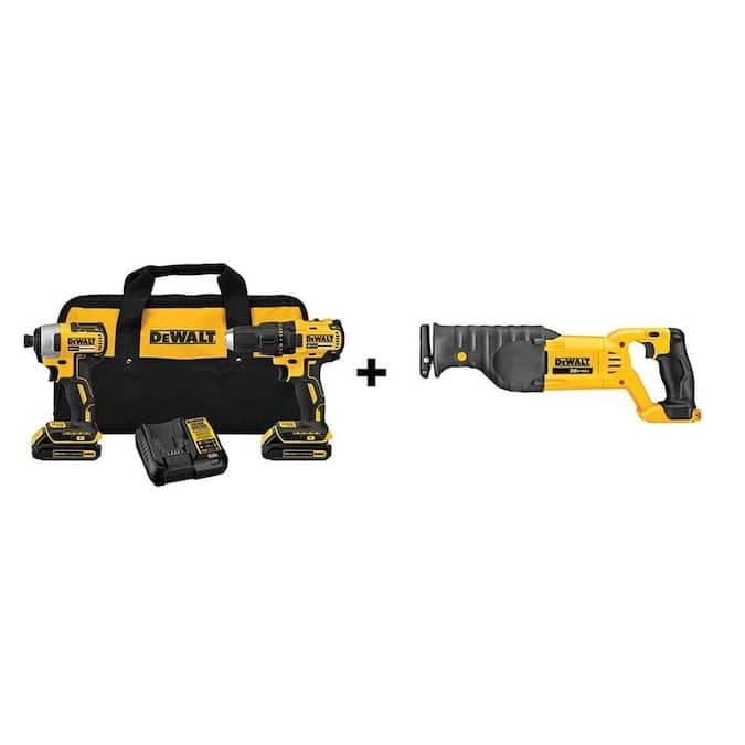 Lowe's, DEWALT 20V Brushless Drill & Impact Driver Combo Kit (Charger Included and (2) 1.3Ah Batteries Included) + 20V MAX Cordless Reciprocating Saw, Free shipping, $199