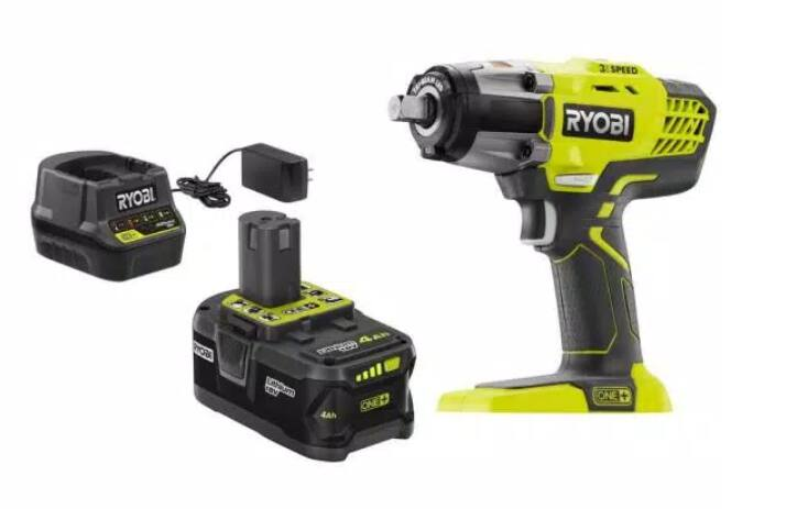 Ryobi ONE+ 18V Cordless 3-Speed 1/2 in. Impact Wrench Kit with (1) 4 Ah Battery, Charger and Bag, $99, free shipping, Home Depot
