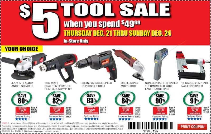 Harbor Freight $5 tool sale $5