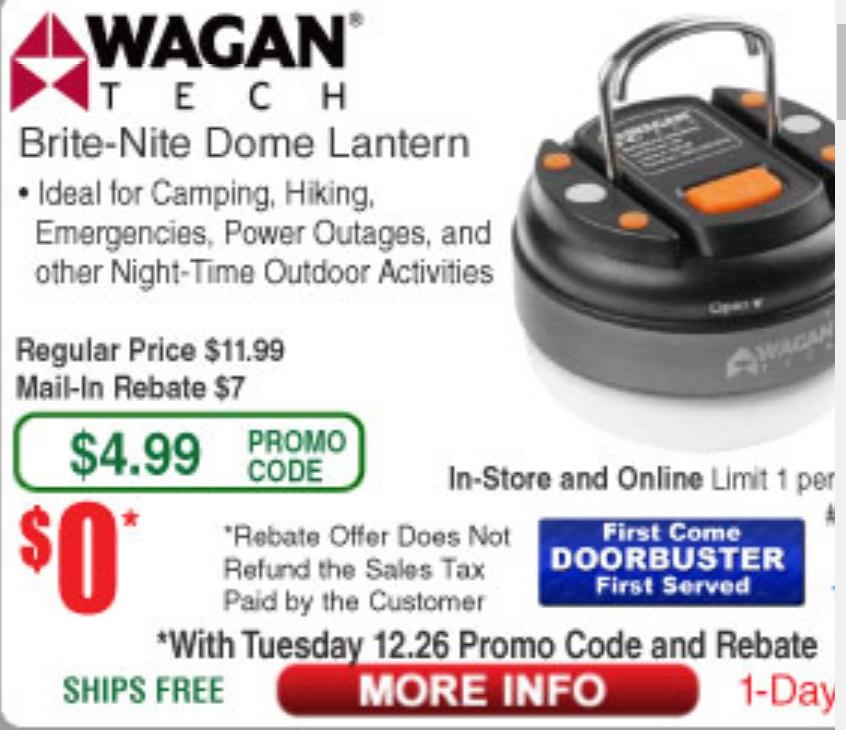 Wagan Brite-Nite Dome Lantern $7.00 Rebate