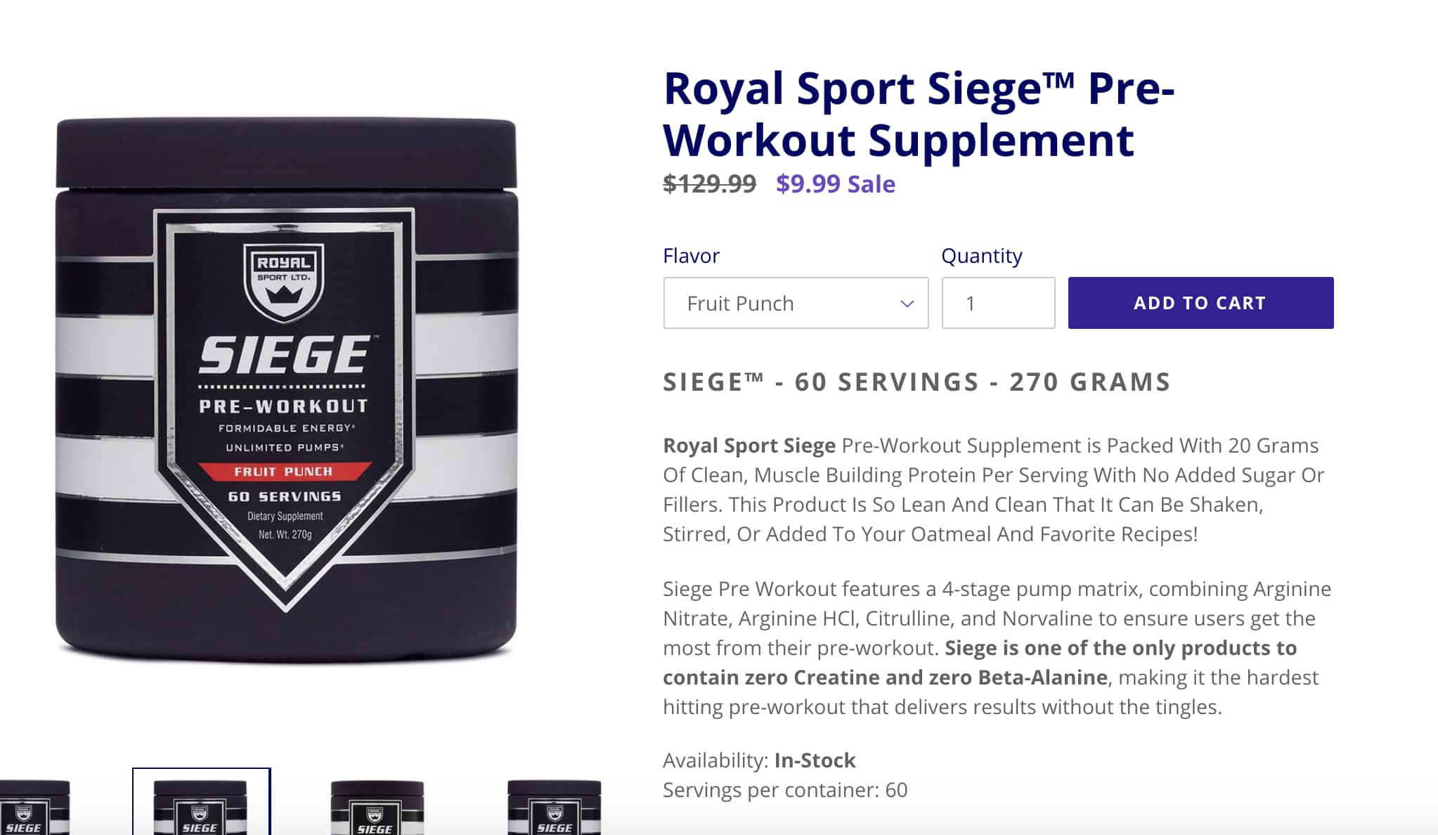 Royal Sport Siege™ Pre-Workout Supplement - $9.99 + Free Shipping