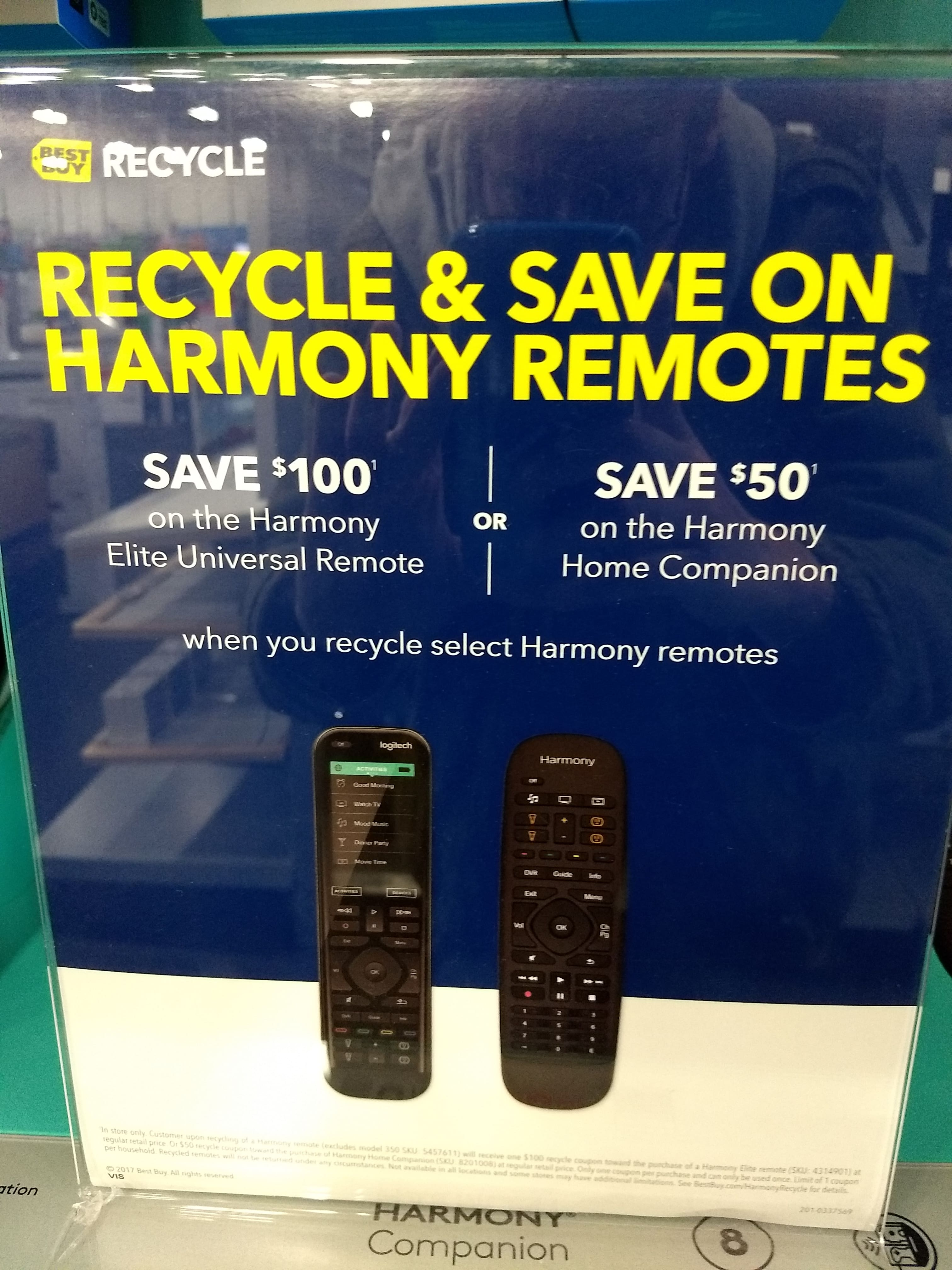 e75021f2883 Best Buy Recycle Harmony Remote get $100 off Elite, $50 off Companion-In  Store Only! YMMV - Slickdeals.net