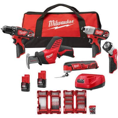 Milwaukee M12 12-Volt Lithium-Ion Cordless Combo Kit (5-Tool) with Two 1.5 Ah Batteries, Charger, SHOCKWAVE Bit Set (99-Piece) and Tool Bag $223