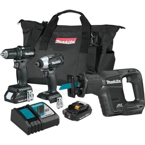 Makita drill, impact driver, recip saw w/ 2 batteries and charger $210